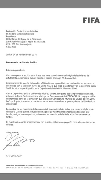 Fifa Envió Emotiva Carta De Pésame Por Muerte De Gabriel Badilla