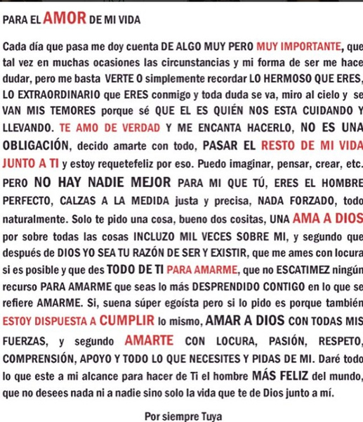 Con Esta Carta De Amor Melissa Mora Celebra Sus 10 Meses De Noviazgo