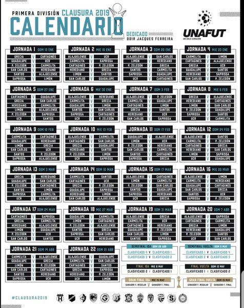 Calendario Fiscal 2019 Honduras.Unafut Revelo El Calendario Para El Torneo Clausura 2019